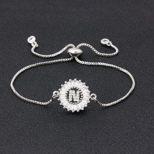 """Silver Round Letter """"N"""" Initial Name CZ Bracelet"""
